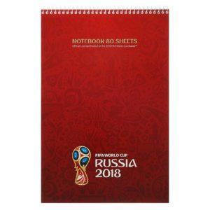 Блокнот А4, 80 листов на гребне «ЧМ по футболу 2018. Эмблема», мелованный картон, жёсткая подложка, красный