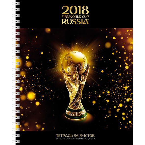 Тетрадь 80 листов клетка на гребне «ЧМ по футболу 2018. Золотой кубок», мелованный картон, матовая ламинация, 3D фольга