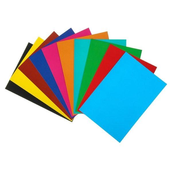 Картон цветной А4, 10 листов 10 цветов «ЧМ по футболу 2018. Эмблема», лакированный, в папке