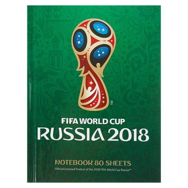 Бизнес-блокнот А6, 80 листов «ЧМ по футболу 2018. Эмблема», твёрдая обложка, зелёный