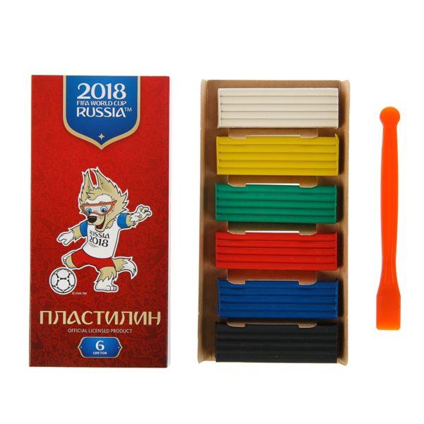 Пластилин 6 цветов, 120 г «ЧМ по футболу 2018», со стеком