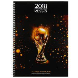 Колледж-тетрадь А4, 80 листов клетка на гребне «ЧМ по футболу 2018. Золотой кубок», твёрдая обложка
