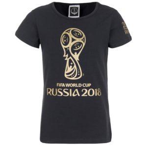Футболка для девочек черная с золотой эмблемой ЧМ