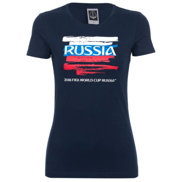 Футболка женская синяя ЧМ 2018 Россия