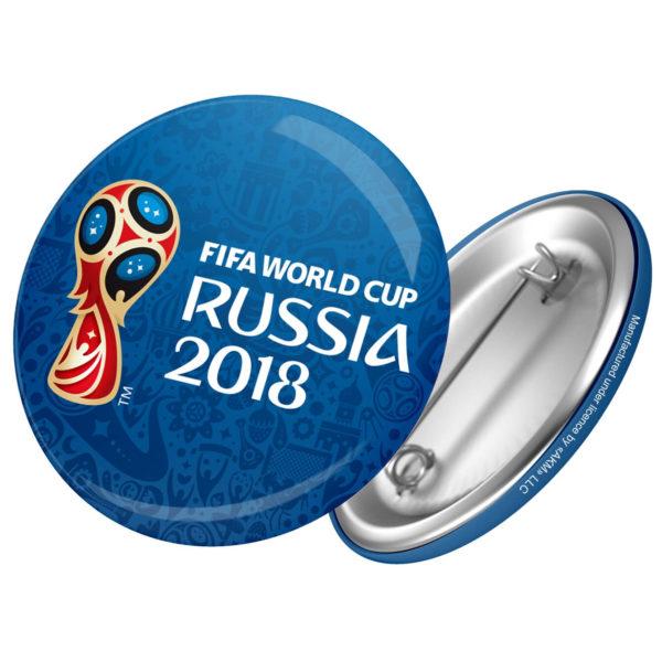Значок круглый металл 44мм Эмблема ЧМ FIFA-2018 синий фон
